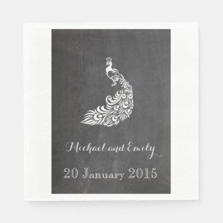 Trendy Romantic vintage peafowl chalkboard wedding Disposable Napkins