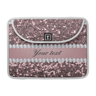 Trendy Rose Gold Faux Glitter and Diamonds Sleeve For MacBooks