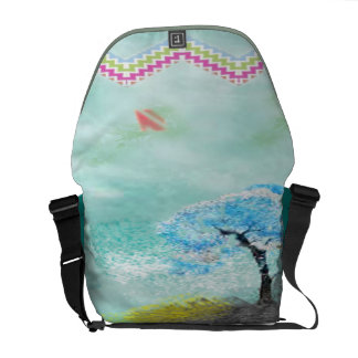trendy sea green printed courier bag