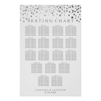 Trendy Silver Dots - Seating Chart ( 17 ) Poster