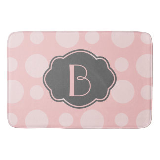 Trendy Spots, Pink & Gray, add your initial Bath Mats