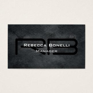 Trendy Style Gray Monogram Minimalist Plain Simple Business Card