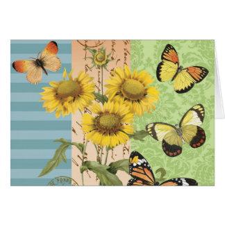 Trendy Sunflowers and Butterflies notecard Card