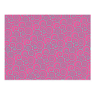 Trendy Swirly Pastel Pink and Blue Abstract Postcard