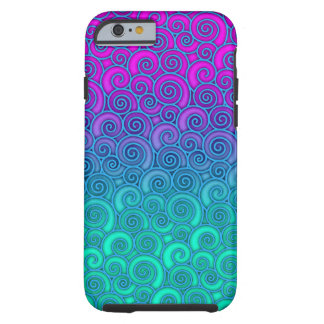 Trendy Swirly Wavy Teal and Bright PInk Abstract Tough iPhone 6 Case