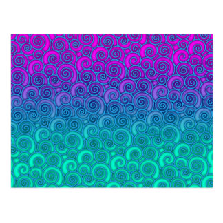 Trendy Swirly Wavy Teal and Bright PInk Abstract Postcard