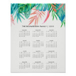 Trendy Tropical Watercolor | 2018 Calendar Poster