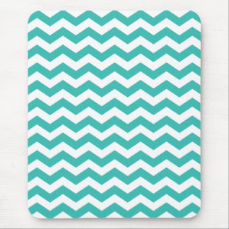 Trendy Turquoise Chevron Stripes Mouse Pad
