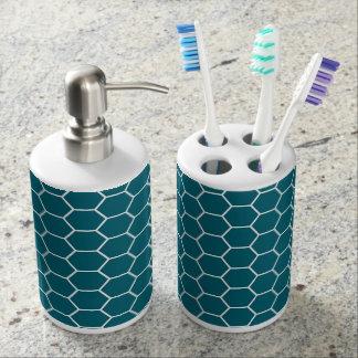 Trendy Turquoise Geometric Hexagon Pattern Soap Dispenser And Toothbrush Holder