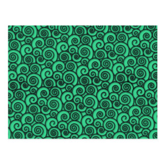 Trendy Turquoise Swirly Abstract Pattern Postcard