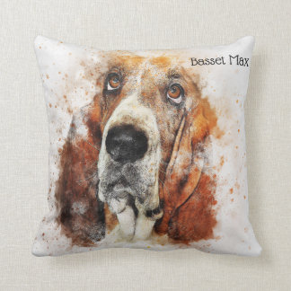 Trendy Watercolor Basset Hound Personalized Cushion