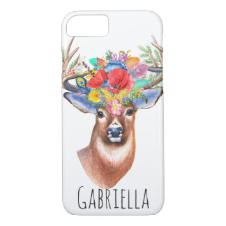 Trendy Watercolor Floral Stag Deer & Name iPhone 8/7 Case