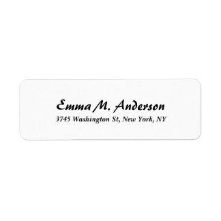 Trendy White Classical Professional Elegant Script Return Address Label