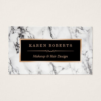 Trendy White Marble Makeup Artist Hair Salon Business Card
