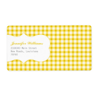Trendy Yellow Gingham Shipping Label