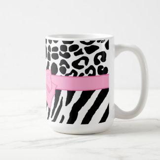 Trendy Zebra Leopard Pattern Pink Ribbon Mugs