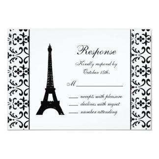 Tres Paris RSVP (white) 9 Cm X 13 Cm Invitation Card