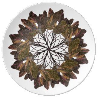Tri-Color Sage Mandala Plate Porcelain Plates