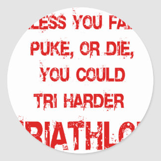 Tri Harder Classic Round Sticker
