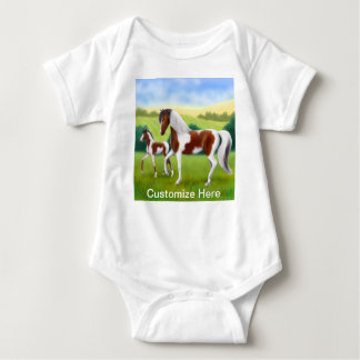Tri Paint Mare with Foal Customisable Baby One Pie Baby Bodysuit