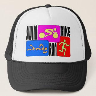 TRI Triathlon Swim Bike Run BRIGHT Square Design Trucker Hat