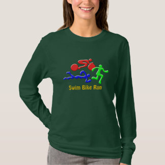 TRI Triathlon Swim Bike Run COLOR Figures Design T-Shirt