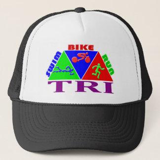TRI Triathlon Swim Bike Run PYRAMID Design Trucker Hat