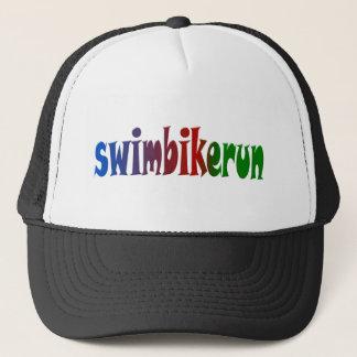 TRI Triathlon Swim Bike Run RAINBOW Design Trucker Hat