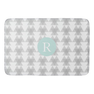 Triangle Tribal Pattern Mint Monogram Bath Mats