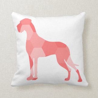 Triangulus Red Great Dane Throw Pillow