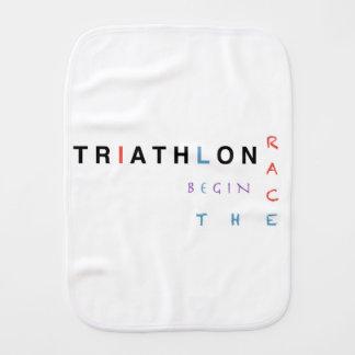 Triathlon let the race begin burp cloth