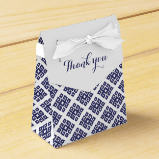 Tribal angular blue white thank you gift box favour boxes