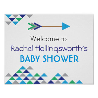 Tribal & Arrow Baby Boy Shower Welcome Poster