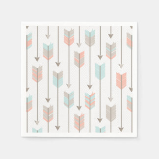 Tribal Arrows Pattern Pink Blue and Grey Disposable Serviettes