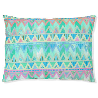 Tribal Aztec Chevron Light Pastel Teal Dog Bed