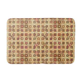 Tribal Batik - chocolate brown and camel tan Bath Mat