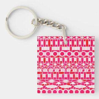 Tribal Batik - Deep red, maroon and white Key Ring