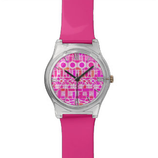 Tribal Batik - fuchsia pink, magenta and coral Watch