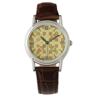 Tribal Batik - golden yellow, brown and tan Watch