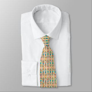 Tribal Batik - Peach Pink and Turquoise Tie