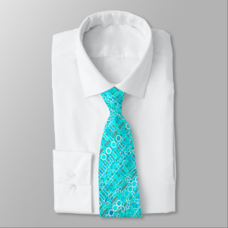 Tribal Batik - turquoise, aqua and grey Tie