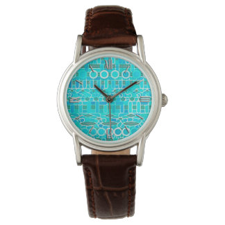 Tribal Batik - turquoise, aqua and grey Watch