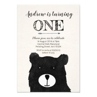 tribal bear birthday invitation