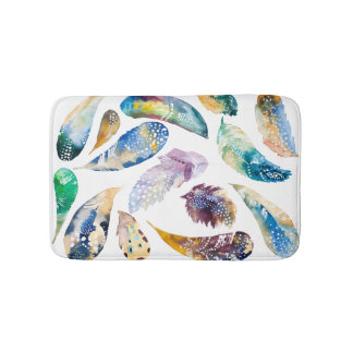 Tribal Feathers Colorful Watercolors Illustration Bath Mat