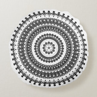 Tribal Folk Floral Ornamental Circle Ukrainian Round Cushion