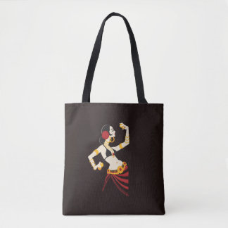 tribal fusion belly dancer with cymbals tote bag