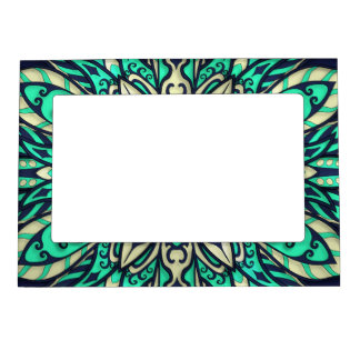 Tribal Geometric teal and blue Mandala Magnetic Picture Frame