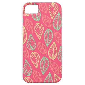 Tribal leaves batik rustic chic hot pink pattern iPhone 5 cover