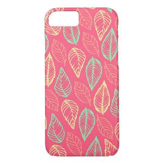 Tribal leaves batik rustic chic hot pink pattern iPhone 8/7 case