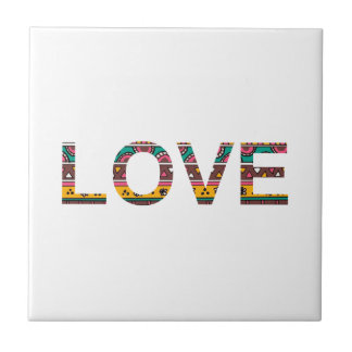 Tribal Love Word Art Small Square Tile